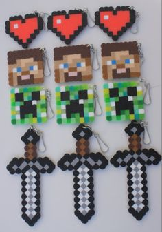 Minecraft inspired 12 pcs perler beads party favor or Valentine's Day keychains
