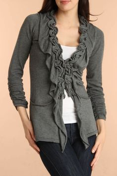 Olivia M. Michelle Cardigan In Charcoal