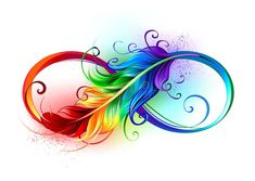 Artistically drawn infinity symbol with beautiful rainbow feather on white backg. - Artistically drawn infinity symbol with beautiful rainbow feather on white background. Feather Drawing, Feather Tattoo Design, Feather Art, Feather Tattoos, Mandala Feather, Peacock Feather Tattoo, Kunst Tattoos, Body Art Tattoos, Moon Tattoos