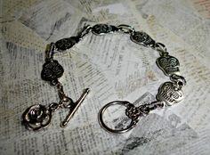 Tibetan Silver Sugar Skull Bracelet Rose Charm by KelsiJaneDesigns, $18.00
