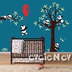 Inspired by Winnie-the-Pooh this decal set features five cute panda bears sitting on the tree, flying on balloon and sleeping on the branch. Removable