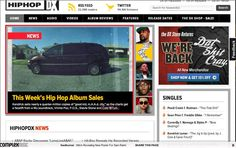HIP-HOP: This was a website layout that we liked the look of. It is simple, and easy to navigate with convenient tabs. Without leaving the homepage, you can see the latest news, and their current singles chart etc.