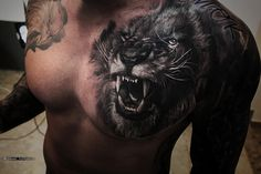 Lion Chest Tattoo Designs For Men by tattoo artist Alexei Mikhailov tattoo reali. - Lion Chest Tattoo Designs For Men by tattoo artist Alexei Mikhailov tattoo realistic tattoo art tat - Chest Tattoo Animal, Lion Chest Tattoo, Lion Tattoo Sleeves, Lion Head Tattoos, Tattoos Arm Mann, Cool Chest Tattoos, Mens Lion Tattoo, Chest Piece Tattoos, Body Art Tattoos