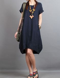 linen Chic short sleeved tunic dress