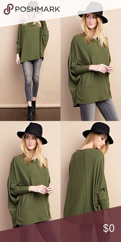 Cuffed Long Sleeved Tunic- DEEP OLIVE Super soft and cozy with cuffed long sleeves, brushed knit Tunic Top. 62% Polyester 33.4% Rayon 4.6% Spandex. Tops Tunics