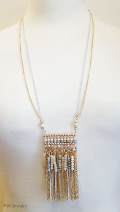 Gold and White Chain Long Necklace