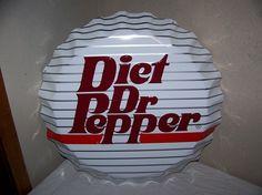1970's Diet Dr Pepper Soda Pop Bottle Cap Embossed Metal Sign