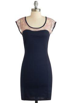 I just love the lace combo with the fitted solid dress. Its so pretty. Dinner Guest of Honor Dress, #ModCloth