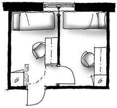 En våningssäng som står mitt i rummet och kan nås från två håll är en enkel rumsavdelare, som inte kräver ingrepp i tak och golv.