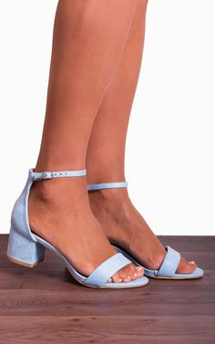 Light Baby Blue Ankle Strap Low Heeled Heels Peep Toes Strappy Sandals By Shoe Closet - Fairytale wedding - Heels Low Heel Sandals, Low Heel Shoes, Ankle Strap Heels, Ankle Straps, Strappy Sandals, Light Blue Wedding Shoes, Light Blue Heels, Prom Heels, Wedding Heels