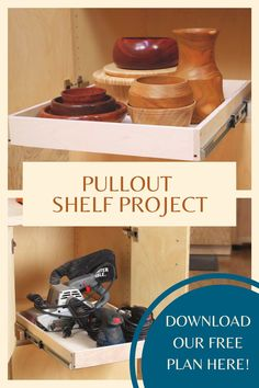These quick, easy, and inexpensive DIY projects and repairs will improve the function and longevity of the cabinets in your home or workshop. Download our free plan and create with confidence!  #createwithconfidence #freerocklerplan #pulloutshelfdiy #diycabinetupgrades #freewoodworkingplan Cool Woodworking Projects, Teds Woodworking, Workshop Organization, Wood Plans, Home Projects, Confidence, Cabinets, Hardware, Wood Ideas