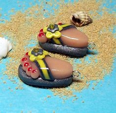Polymer Clay Flip Flop CHARMS with Grey and Yellow by BarbiesBest, $7.00