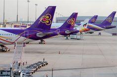 Die Flotte von Thai Airways im Heimathafen in Bangkok. Krabi, Thai Airways, Bangkok, Thailand, Aircraft, Travel, Aviation, Plane, Airplane