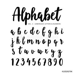 Isolated letters and numbers written with marker or ink, brush script. Chalkboard Lettering Alphabet, Calligraphy Letters Alphabet, Hand Lettering Fonts, Lettering Tutorial, Brush Lettering, Hand Drawn Fonts, Alphabet A, Handwriting Alphabet, Cute Fonts Alphabet