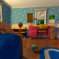 Picture from the movie of Andy's Room in Toy Story 1 Toy Story Nursery, Toy Story Bedroom, Bedroom Toys, Kids Bedroom, Bedroom Decor, Bedroom Ideas, Bedroom Inspiration, Nursery Ideas, Nursery Decor