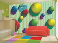 3D WALLPAPER MURAL Candy Balls Colorful WALL ART Kids Boys Room Decor