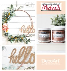 Create vintage sheen with a matte finish using this incredibly soft and perfect metallic paint. Home Wall Decor, Home Decor Items, Home Decor Accessories, Diy Outdoor Furniture, Diy Furniture, Discount Home Decor, Decoupage Furniture, Wreaths And Garlands, Pallet Crafts