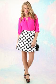 Pretty in Pink! Must have, hot pink blouse! The perfect pop of color for your favorite spring outfits! Love!