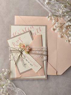 Custom listing (100) invitations Grey Peach Wedding Invitation, Vintage Lace Wedding Invitations, Rustic Wedding Invitation $500.00