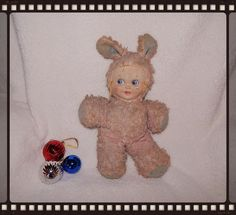 Vintage bunny girl plush doll stuffed har coth face16 in Gund needs TLC