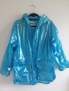 clear blue pvc holographic raincoat