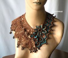 Chevron meets lace, brown, turquoise   by DAINTYCROCHETBYALY