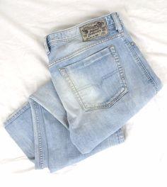 DIESEL Zathan Jeans 36 x 32 Regular Boot Cut 008SZ Light Blue Distressed Denim #DIESEL #BootCut