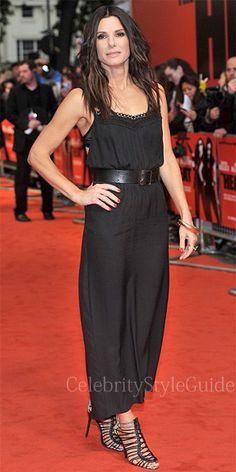 sandra bullock black dress | Sandra-Bullock-Black-Backless-Silk-Dress-and-Black-Cage-Sandals-The ...