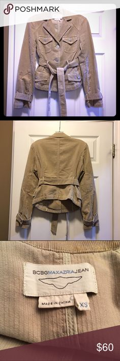 BCBG MaxAzaria Tan Corduroy Jacket, Extra Small BCBG MaxAzaria Tan Corduroy Jacket, Extra Small  Excellent like-new condition and comes from a smoke-free home. Measures 21.5 inches from shoulder to hem in front, 18 inches from shoulder to hem in back. BCBGMaxAzria Jackets & Coats