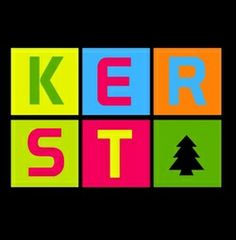 Kerst in colorful text on black, vk Color, Colour, Colors