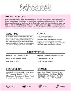 Free Downloadable Blogger Media Kit Template