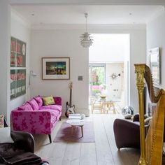 inside this relaxed four-storey Victorian terrace in southwest London Sitting area Victorian Living Room, Edwardian House, Victorian Homes, Victorian Kitchen, Victorian Terrace Interior, White Floorboards, Open Plan Kitchen Living Room, Dining Room, Room Kitchen