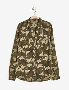 Chemise camouflage cintré kaki femme • Jennyfer