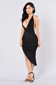 Available in Black Deep V Halter Neckline with Tie Ruching Detail Front Slit Made in USA Polyester, Spandex Tight Dresses, Sexy Dresses, Beautiful Dresses, Fashion Dresses, Lil Black Dress, Grad Dresses, Fashion Design Sketches, Fashion Models, Fashion Fashion