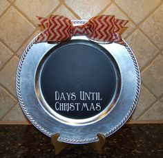 12 Festive Inspired Upcycle's From Mill Barn- add a coat of blackboard paint to a tray or charger plate and let your imagination run wild- from a countdown to table places to A personalised Santa plate- there is fun to be had! www.antiquemann.co.uk