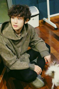 Soft Chanyeol with puppy