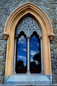 Deep blue sky detail ~ Photo by Luquesio Melo. Arched Windows, Windows And Doors, Bay Windows, Entry Gates, Entrance, Amazing Architecture, Architecture Details, Portal, The Magic Faraway Tree