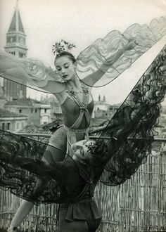 Tanaquil Le Clercq and Nicholas Magallanes, posing on a roof in Venice, wearing their costumes for Metamorphoses