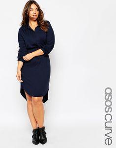 Bild 1 von ASOS CURVE – Tailliertes Hemdkleid aus Jersey
