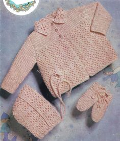 37198528 PDF Instant Digital Download baby crochet coat bonnet mitts pattern 20/22  inch (895)