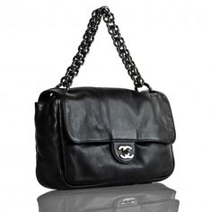 Chanel Black Lambskin Modern Chain Flap Bag