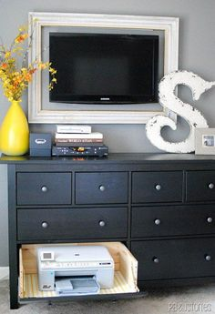 Home Office Organization: Turn a regular dresser drawer into a slide-out printer drawer. When not in use, hide the printer away by closing the drawer. Hideaway Printer Drawer Tutorial, also love the framed tv