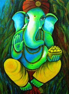 Ganesh in Garden by Rupa Prakash Ganesha Drawing, Lord Ganesha Paintings, Spiritual Paintings, Ganesha Art, Krishna Painting, Krishna Art, Baby Ganesha, Jai Ganesh, Ganesh Statue