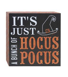 Accentuate the decor theme of your table or mantel for a fun Halloween party with decorative accents like the Makers Halloween Word Block Table Decor-Hocus Pocus. This square table decor word block fe Halloween Words, Halloween Table, Halloween Quotes, Halloween Signs, Halloween Projects, Holidays Halloween, Happy Halloween, Halloween Decorations, Halloween Party
