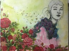 Mixed Media The girl in the rose bush Sienna Lee Pencil Drawings, My Drawings, Magical Thinking, Rose Bush, Designs To Draw, Photoshop, Characters, Illustration, Mixed Media