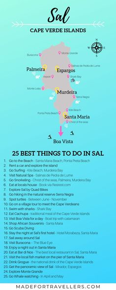 Planning a trip to Cape Verde? Sal is a great island to start. Make sure to use this handy infographic! Planning a trip to Cape Verde? Sal is a great island to start. Make sure to use this handy infographic! Africa Destinations, Holiday Destinations, Romantic Destinations, Santa Maria Beach, Santa Maria Cape Verde, Cape Verde Sal, Cap Vert, Verde Island, Holiday Travel