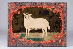 Hooked Rug of a Sheep. New England, c. 1880