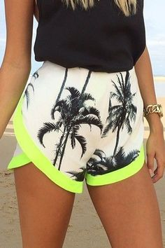 Tropical Print Color Block Irregular Hem Shorts