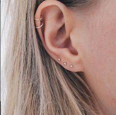 Tragus Piercings, Tragus Piercing Jewelry, Pretty Ear Piercings, Ear Peircings, Cartilage Hoop, Piercings For Small Ears, Ear Piercing Studs, Types Of Ear Piercings, Multiple Ear Piercings