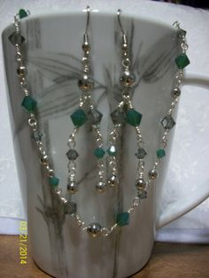 Swarovski Crystal Green & Silver Necklace by DysfunctionalAries, $35.00